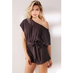 URBAN OUTFITTERS slate gray tie open back romper